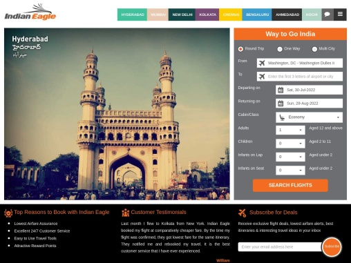 Cheap Flights, Airline Tickets & Flight Deals | Indian Eagle
