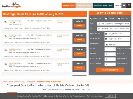 Cheap Flights from Los Angeles (LAX) to New Delhi (DEL) – $ 617.14