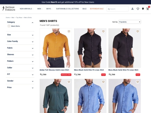 Buy Shirts for Men online in India at best price | Indian Terrain
