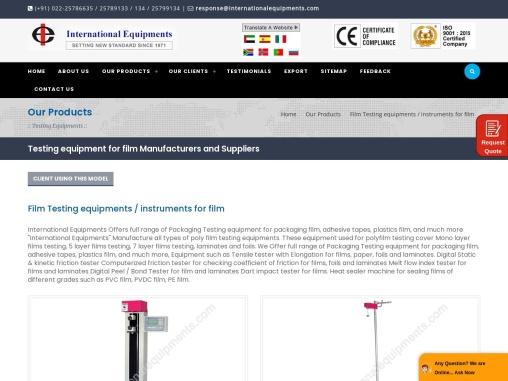 Film Testing Machine, Equipment, Instrument Manufacturers, India