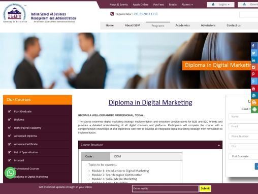 Diploma in Digital Marketing BECOME A WELL-DEMANDED PROFESSIONAL, TODAY…  The course examines digi
