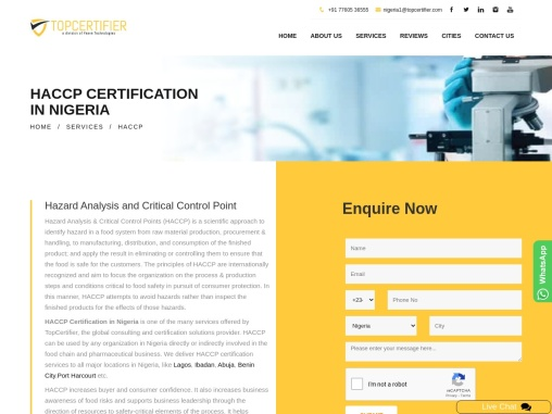 HACCP Certification Consulting Services in Nigeria   TopCertifier