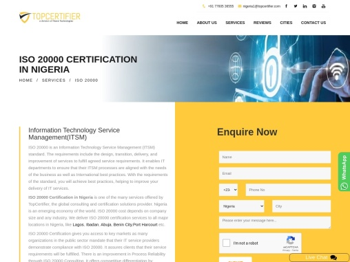 ISO 20000 Certification Consulting Services in Nigeria   TopCertifier
