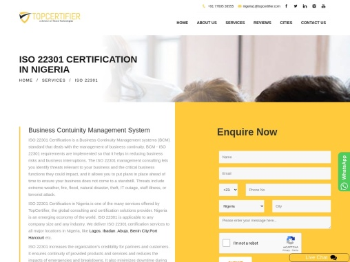 ISO 22301 Certification Consulting Services in Nigeria   TopCertifier