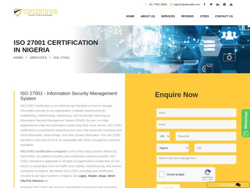 ISO 27001 Certification Consulting Services in Nigeria   TopCertifier