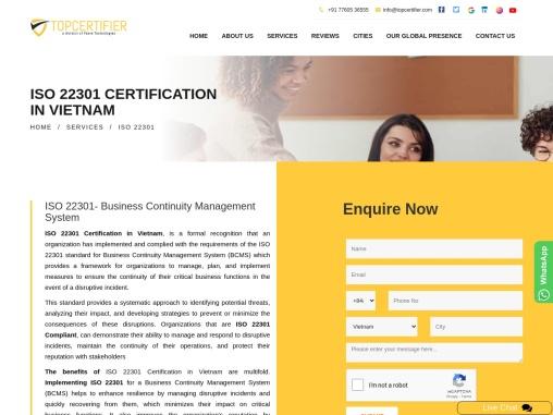 ISO 22301 Certification Consultancy in Vietnam