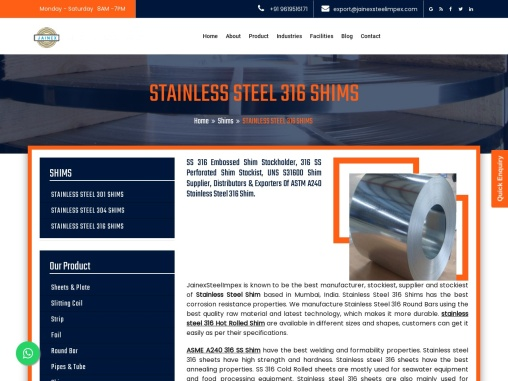 316 Stainless Steel Shim, UNS S31600 SS 316 Shim exporters in India