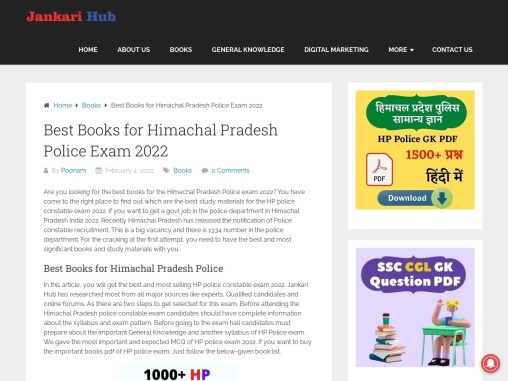 Best Books for Himachal Pradesh Police Exam 2021