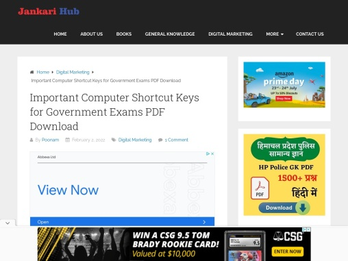 Important Computer Shortcut Keys for Government Exams PDF Download
