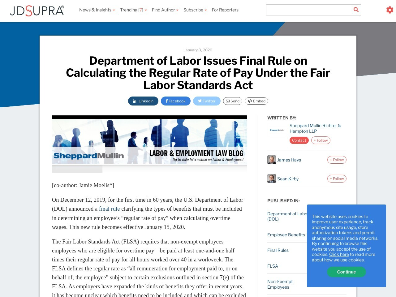 Department of Labor Issues Final Rule on Calculating the Regular Rate of Pay Under the Fair Labor…