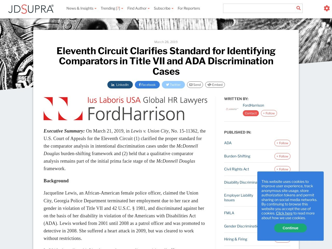 Eleventh Circuit Clarifies Standard for Identifying Comparators in…