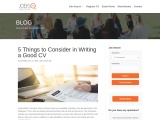 5 Things to Consider in Writing a Good CV