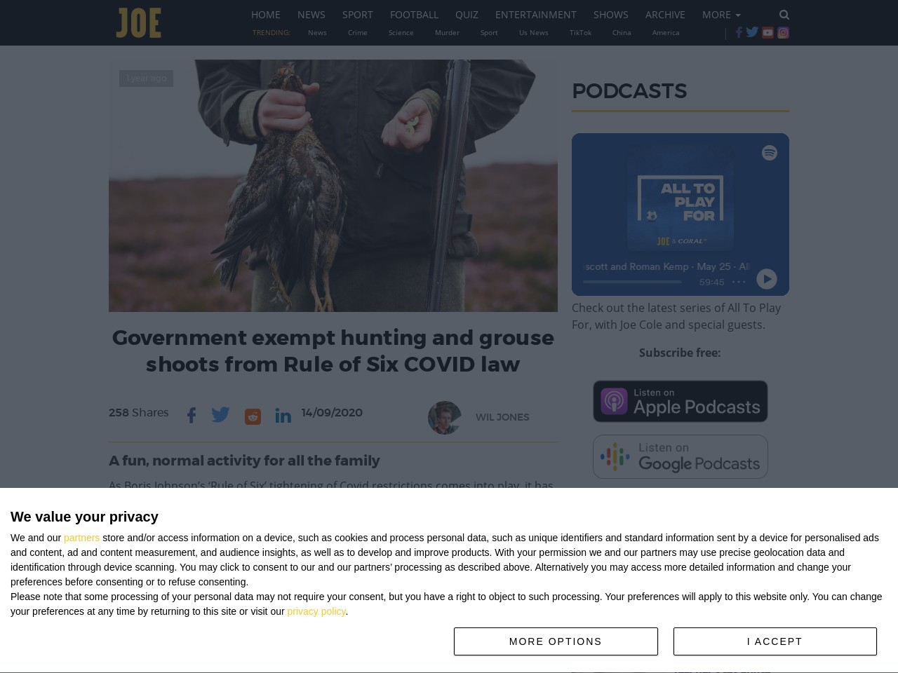 Government exempt hunting and grouse shoots from Rule of Six COVID law