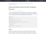 Historicising Student Activism and their Pamphleteer Discourses