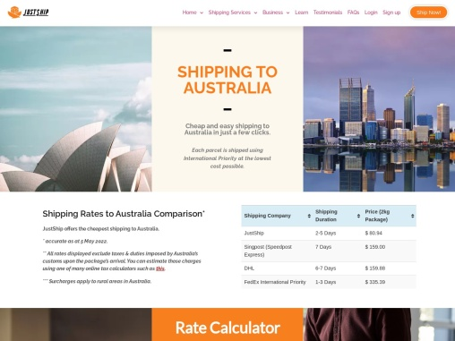 Shipping Singapore to Australia | Shipping from Singapore to Australia | JustShip