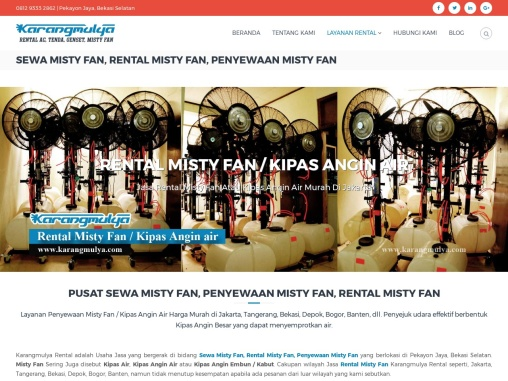 Sewa Misty Fan / Rental Misty Fan Kipas Angin Air Blower Mist Fan