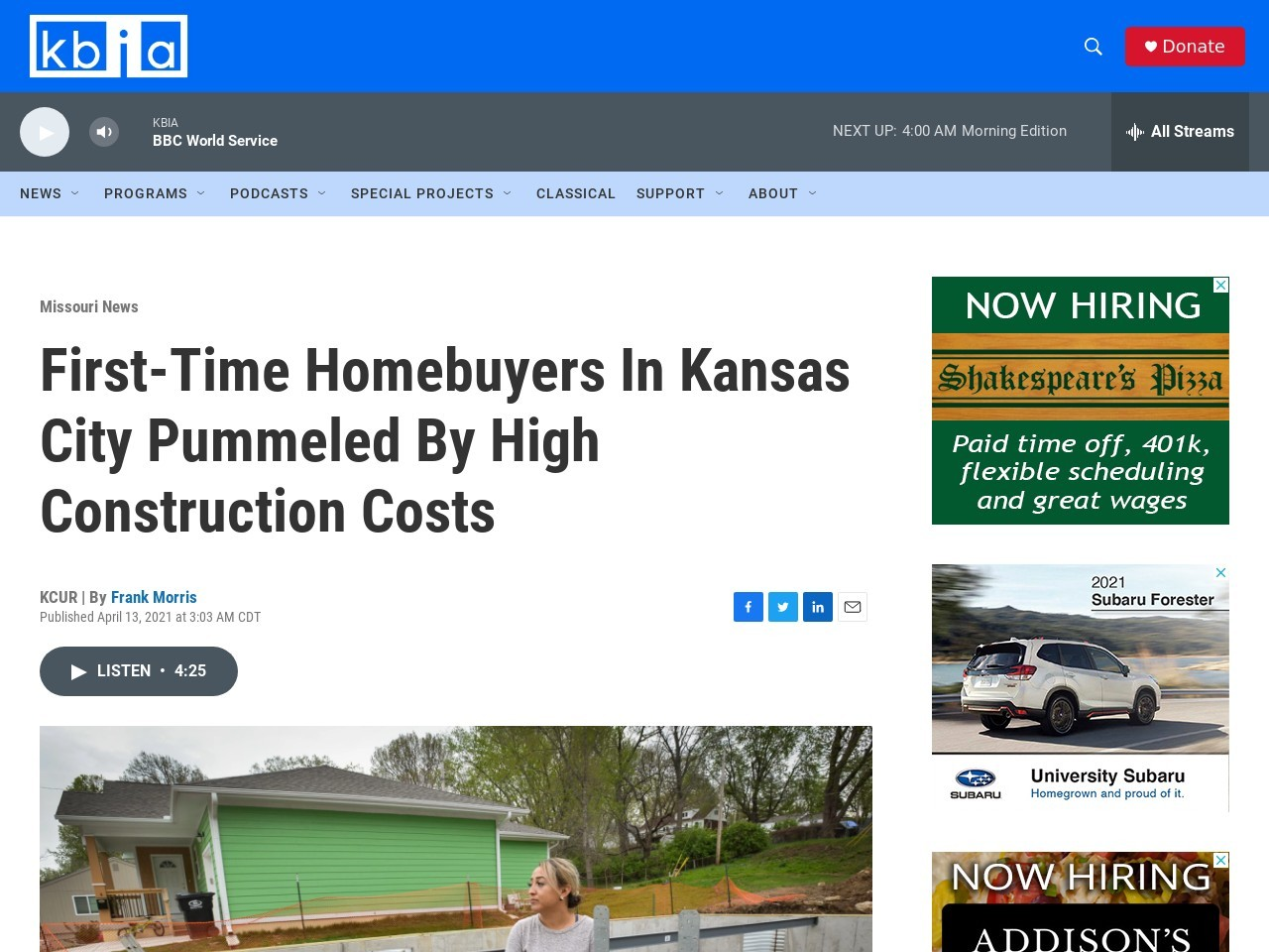 First-Time Homebuyers In Kansas City Pummeled By High Construction Costs – KBIA