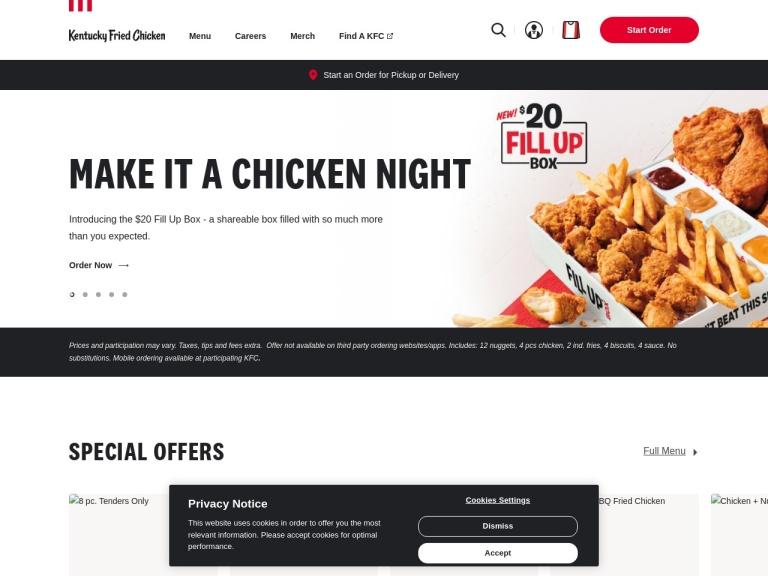 Kfc.com screenshot