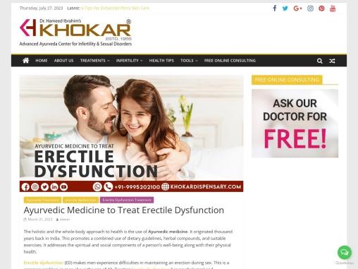 Ayurvedic Medicine to Treat Erectile Dysfunction