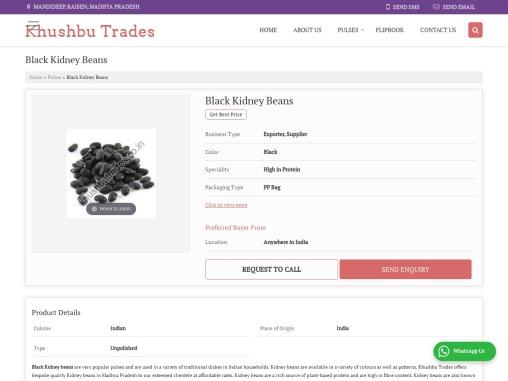 Black Kidney Beans Exporter in India