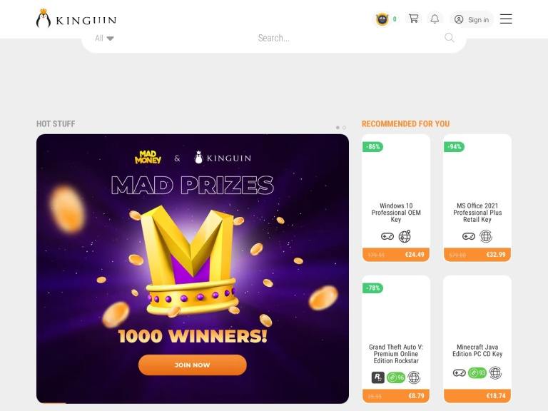 Kinguin screenshot