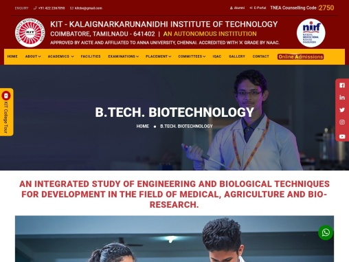 best biotechnology colleges in coimbatore