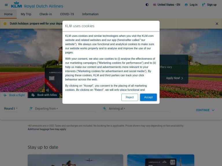 KLM screenshot