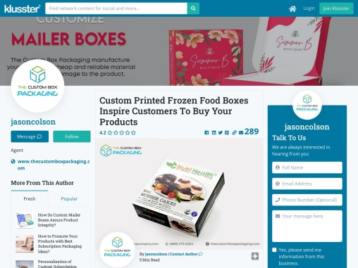 Custom Printed Frozen Food Boxes Inspire Customers To Buy Your Products