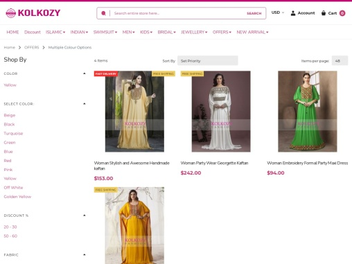 Multiple Colour Options and variety of online Indian Sarees- KolKozy