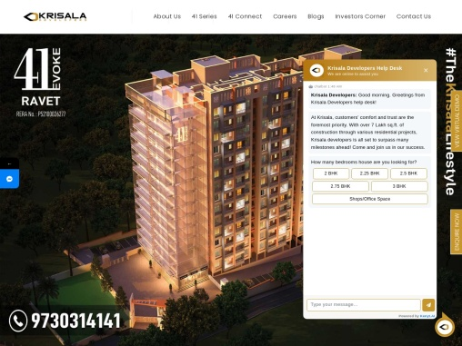 Krisala Developers provides 2 & 3 BHK Furnished Flats in Pune