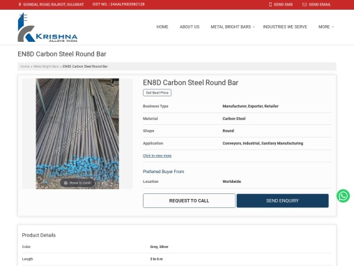 EN8D Carbon Steel Round Bar Suppliers