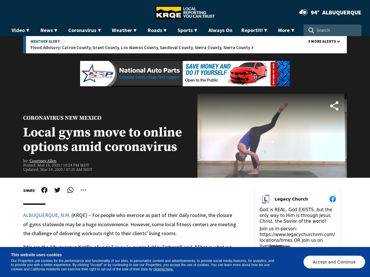 Local gyms move to online options amid coronavirus