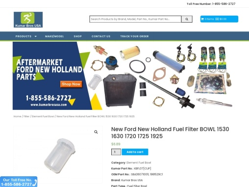 New Ford New Holland Fuel Filter BOWL 1530 1630 1720 1725 1925