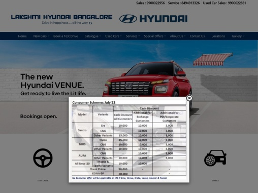 Hyundai Showroom in Bangalore – Lakshmi Hyundai Dealers