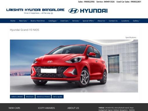Hyundai Grand i10 NIOS virtual brochure from Lakshmi Hyundai, Bangalore