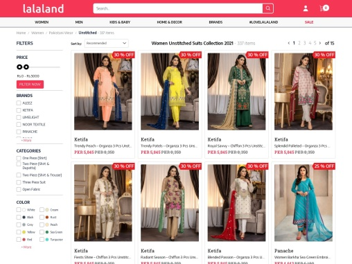 Buy Unstitched Suits for women online