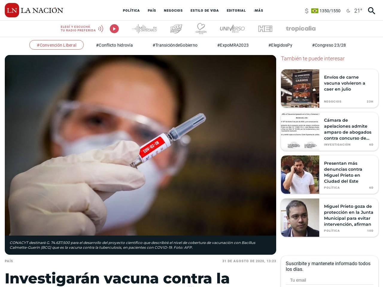 La Nación / Investigarán vacuna contra la tuberculosis y el dengue como variables del impacto del COVID-19