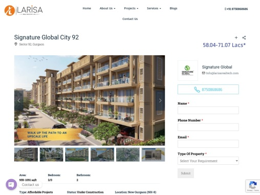 Signature Global City 92 Affordable Floors Sector 92