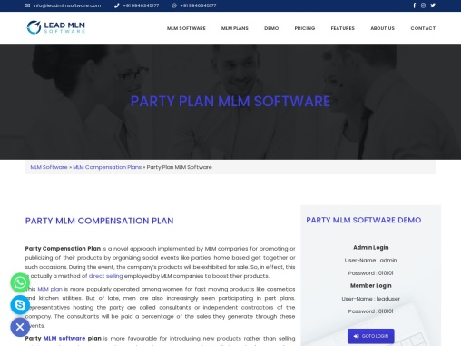 Party MLM Plan – LEAD MLM SOFTWARE