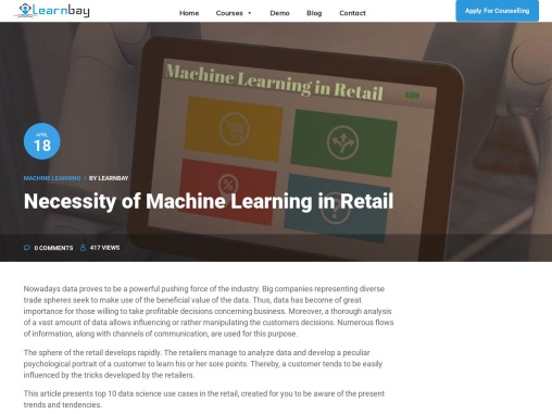 NECESSITY OF MACHINE LEARNING IN RETAIL