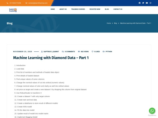 Machine Learning with Diamond Data – Part 1