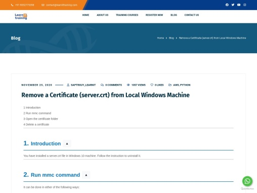 Remove a Certificate (server.crt) from Local Windows Machine