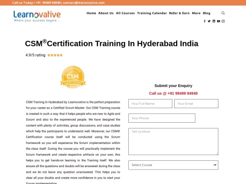 CSM Certification Training In Hyderabad India