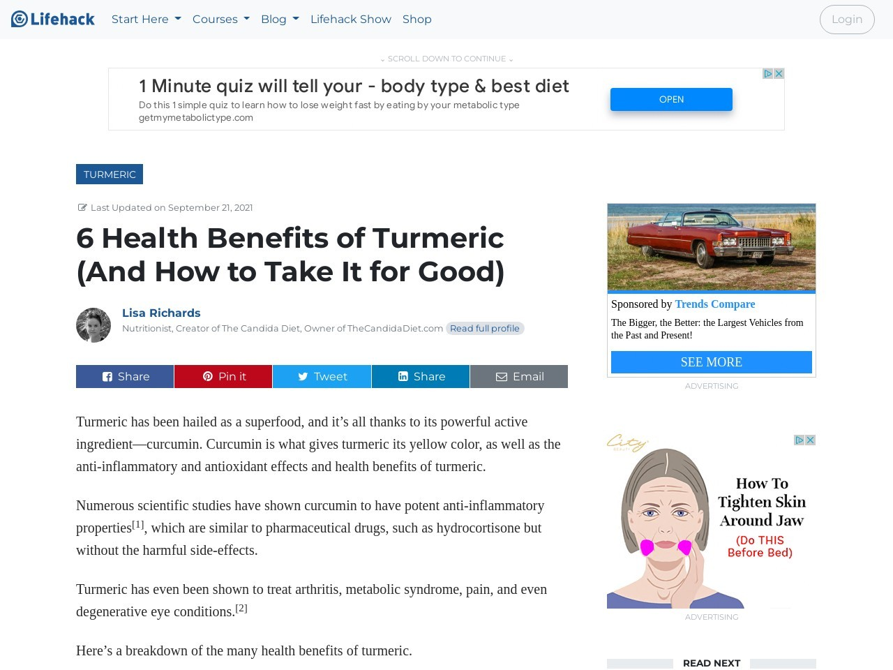 6 Health Benefits of Tumeric (And How to Take It For Good)