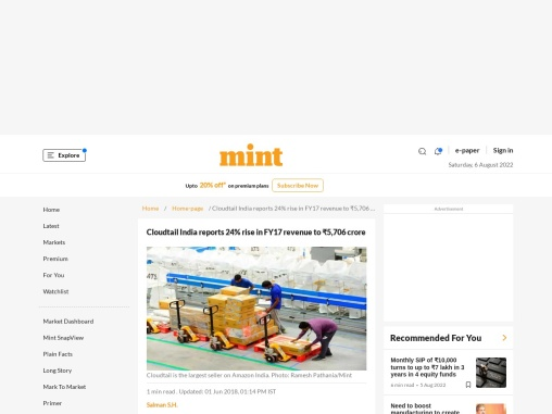 Cloudtail India reports 24% rise in FY17 revenue to ₹5,706 crore
