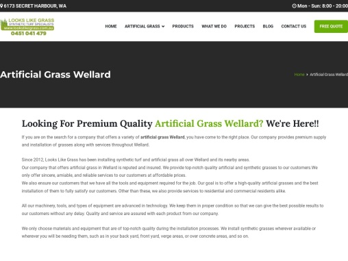 Make sure that you install the artificial grass Wellard from our company
