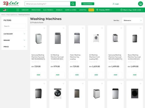 sharp washing machine online -lulu hypermarket
