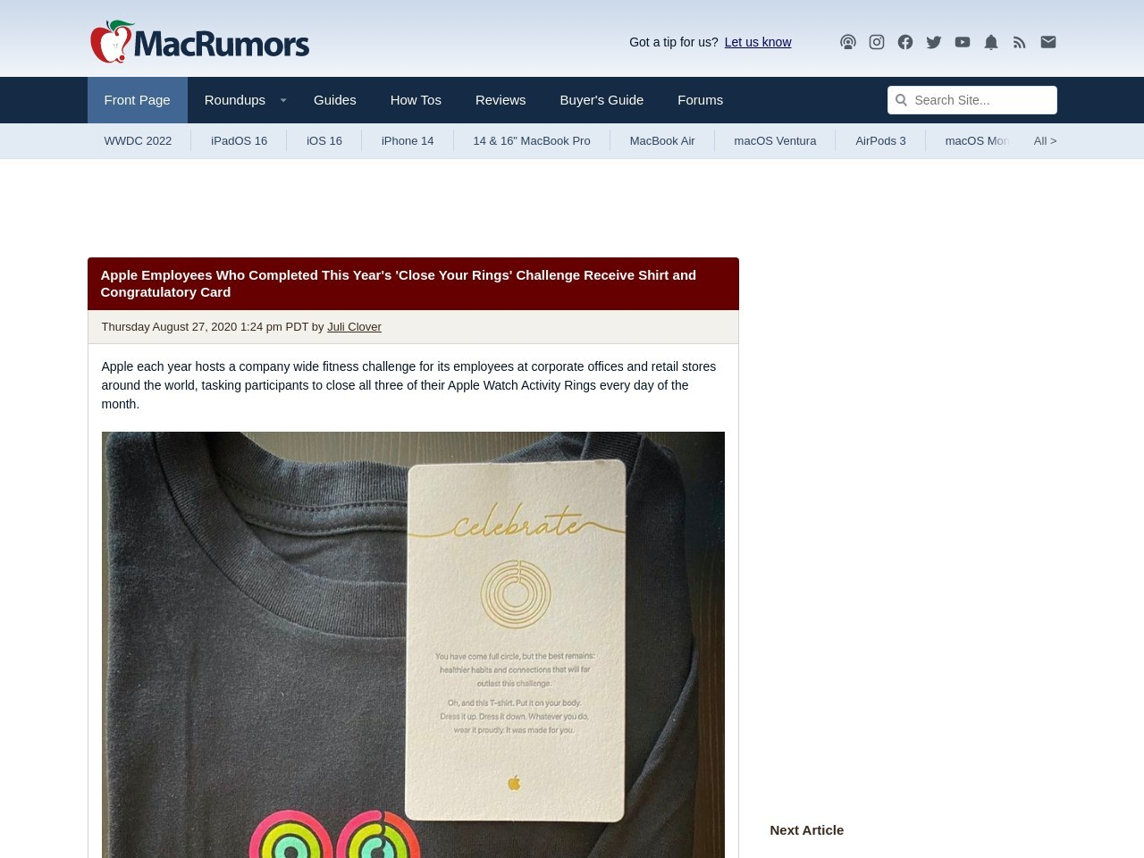 Apple Employees Who Completed This Year's 'Close Your Rings' Challenge Receive Shirt and…