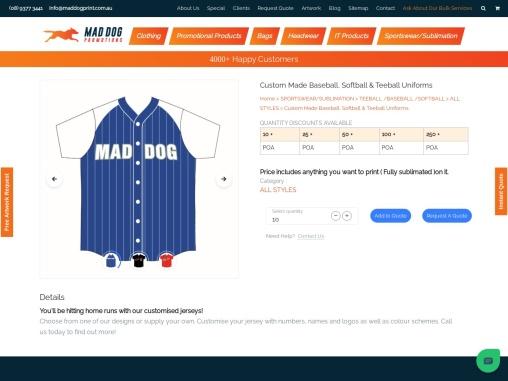 Custom Baseball Uniforms Australia and Custom Baseball Jerseys Perth – Mad Dog Promotions