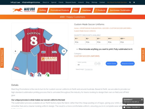 Personalised Soccer Jerseys Perth, Australia –  Mad Dog Promotions